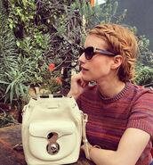 bag,backpack,emma roberts,instagram,sunglasses,mini backpack,cat eye,stripes