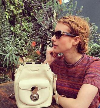 bag backpack emma roberts instagram sunglasses mini backpack cat eye stripes