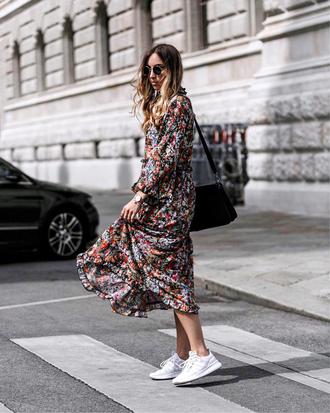 dress tumblr floral floral dress maxi dress floral maxi dress sneakers white sneakers bag sunglasses long sleeves long sleeve dress