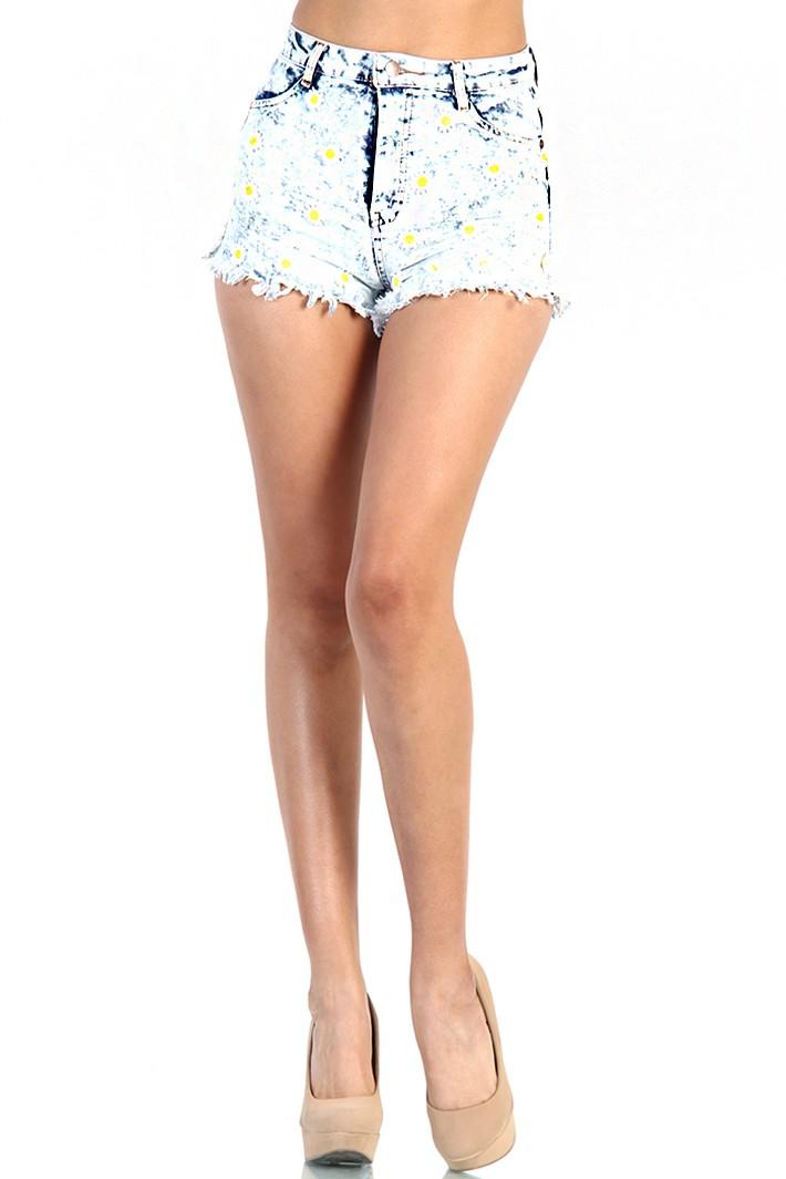 Daisy Acid Wash Denim Shorts