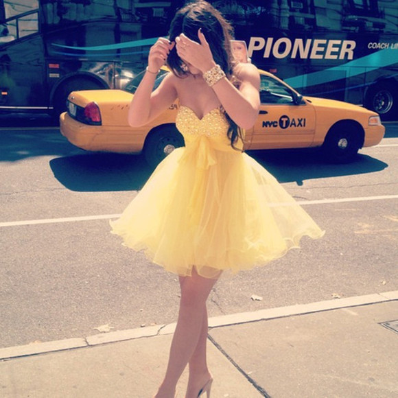 prom dress short dress dress yellow girl girly cute dress