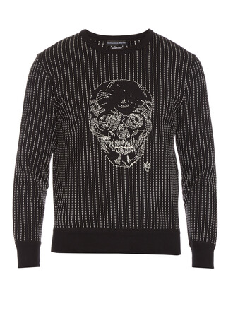 sweatshirt skull long embroidered sweater