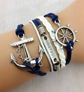 jewels,anchor,blue,courage,silver,summer,girly,girl,cool,style,spring,2014,bracelets,anchor bracelet