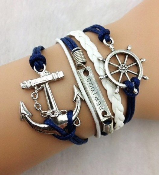 jewels bracelets anchor anchor bracelet blue courage silver summer girly girl cool style spring 2014