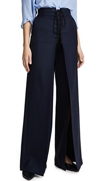 lace wool navy pants
