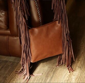 bag fringed bag leather bag