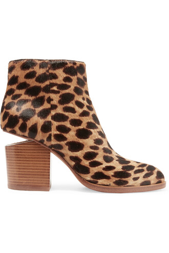 hair boots ankle boots print leopard print shoes