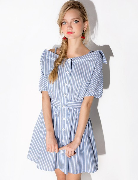 1d65e43cdcd0 dress stripes cute light blue light blue dress off the shoulder off the shoulder  dress shirt