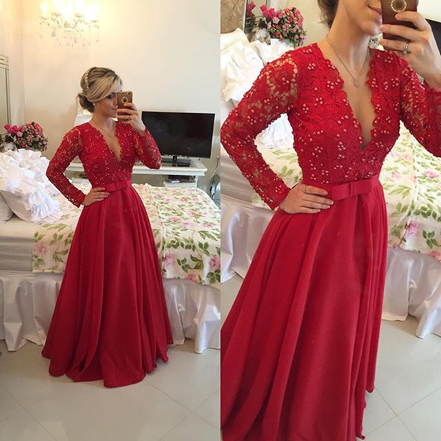 Aliexpress.com   Buy Sexy Deep V Neck Sheer Long Sleeve Red Beaded Lace Prom  Dresses 2016 A Line Satin Sashes Long Evening Dresses Robe De ... 0d06a9924