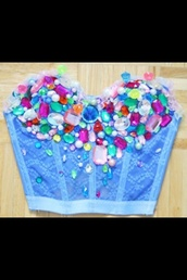 top,neon,gemstone,gems,rhinestones,jewels,corset,bustier