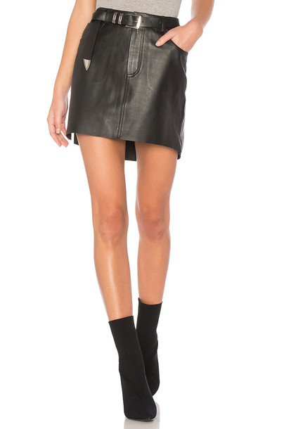 One Teaspoon skirt mini skirt mini leather black