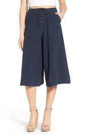 pants,culottes,lace up,navy,lace up pants