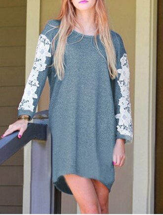 dress lace grey fashion style cool long sleeves casual jewel neck crochet lace spliced long sleeve asymmetric dress for women trendy fall outfits summer