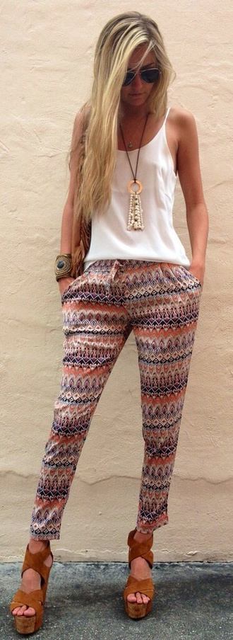 pants jewels tank top pattern bottoms comfortable sweatpants sweatpants cute summer orange pattern orange pants loose pants loose summer pants leggings pattern leggings white tank top high heels gold jewelry jeans printed pants wedge heels necklace white top cuff bracelet sunglasses hippie top boho bohemian pink pants tribal harem pants harem pants pink tribal print