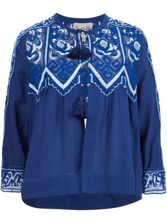 blouse lace blue top