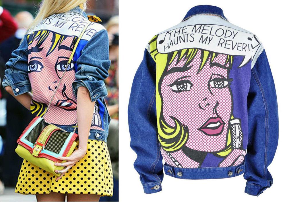 Roy Lichtenstein Pop Art Denim Jacket Loose Boy-friend Melody Haunts My Reverie
