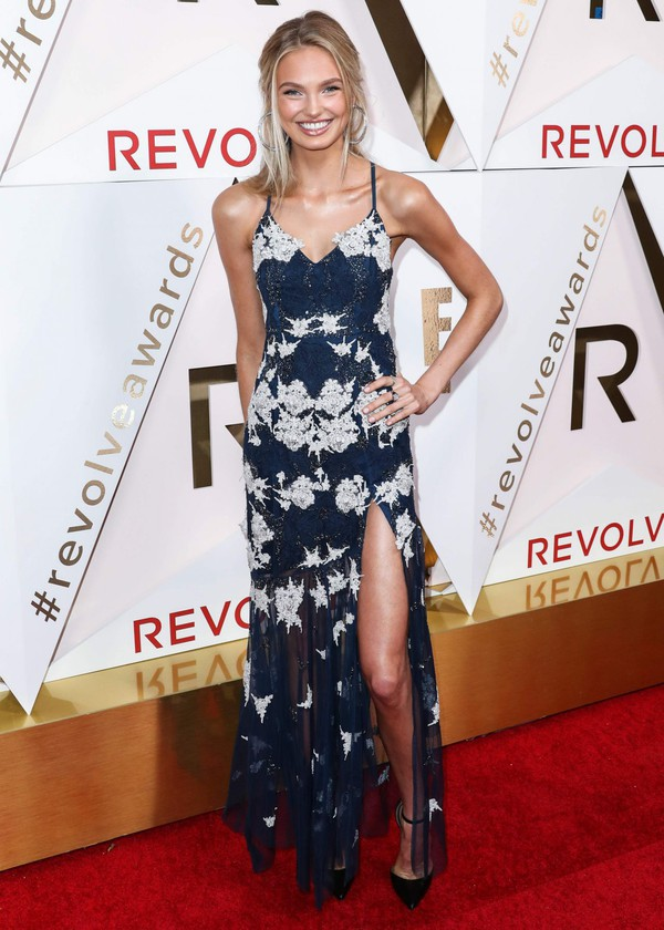 dress maxi dress slit dress gown red carpet dress romee strijd model off-duty