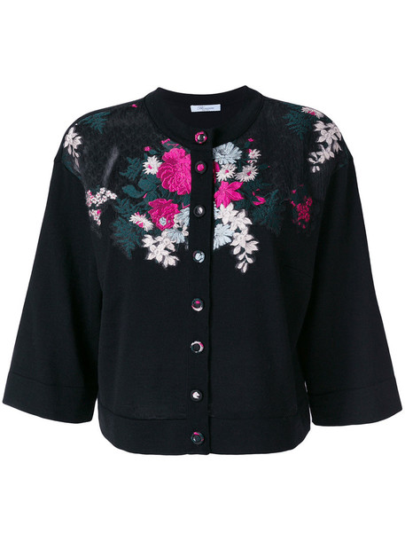 Blumarine - floral embroidered cardigan - women - Silk/Polyamide/Polyester/Wool - 46, Black, Silk/Polyamide/Polyester/Wool