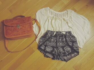 shorts indie boho cute blue tassel purse brown leather top white hippie hip short shorts hippie chic bohemian