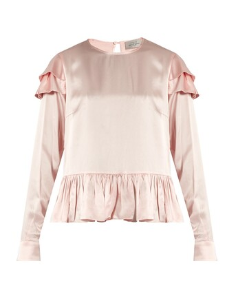 blouse cherry ruffle silk light pink light pink top