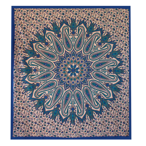 Blue Glittering Mandala Wall Tapestry - HandiCrunch