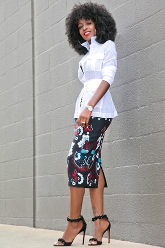 blogger shirt white blouse black skirt floral skirt black heels waist belt black girls killin it date outfit midi floral skirt