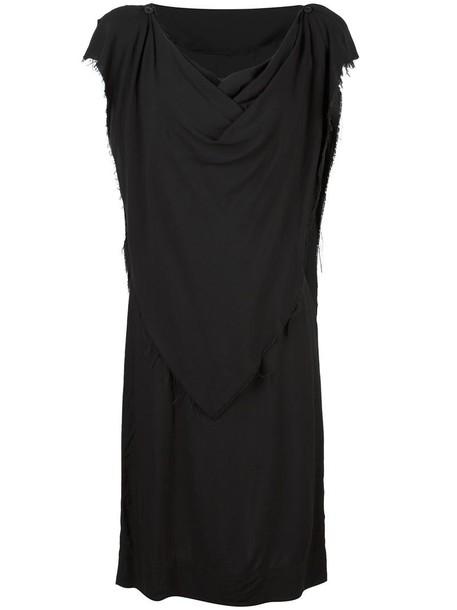 Vivienne Westwood Anglomania frayed shift dress, Women's, Size: 44, Black, Viscose