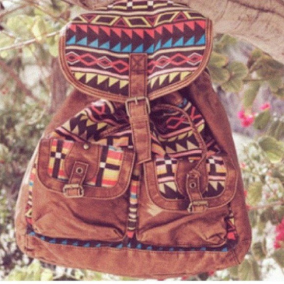 bag pink blue brown yellow native print tribal pattern leather backpack backpack colorful handmade native art pattern artisanal handstitched handcraft Guatemala