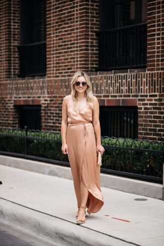 bows&sequins blogger dress jewels shoes bag sunglasses make-up rose gold wrap dress sandals clutch fall outfits maxi dress