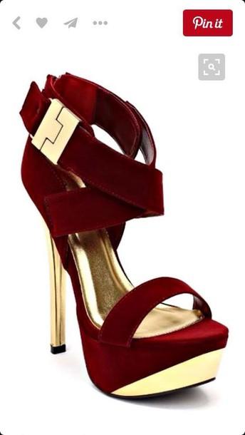 shoes plum gold heels platform shoes pumps burgundy