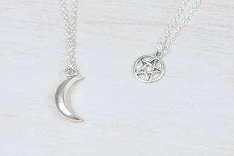 jewels necklace star moon pendant chain silver