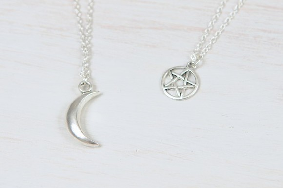 jewels necklace moon star chain silver pendant