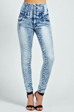Jayah Acid Wash High Waist Denim Jeans at boohoo.com