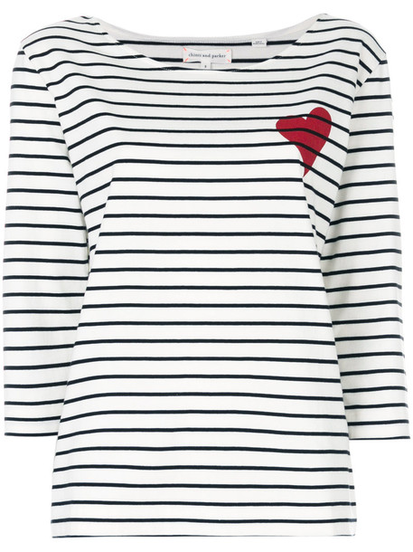 Chinti & Parker t-shirt shirt t-shirt heart women white cotton top