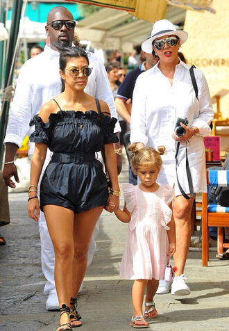 romper off the shoulder kourtney kardashian sandals sunglasses belt summer summer outfits summer shorts summer top off the shoulder top black kardashians streetstyle shoes