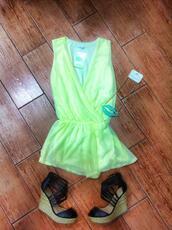 jumpsuit,romper,neon,fluor,green