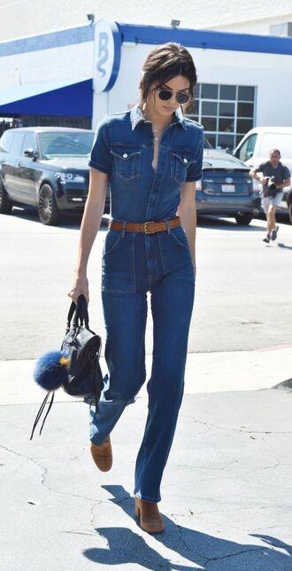 jumpsuit blue jumpsuit belt boots brown boots bag black bag sunglasses aviator sunglasses kendall jenner celebrity style celebrity