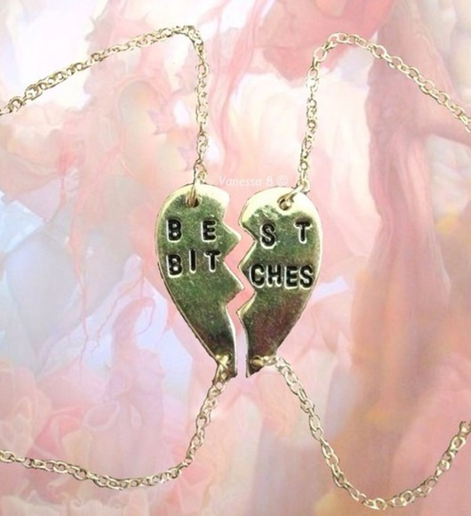 jewels best bitches friends necklace heart bracelets