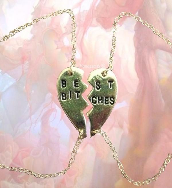 jewels bracelets best bitches heart necklace