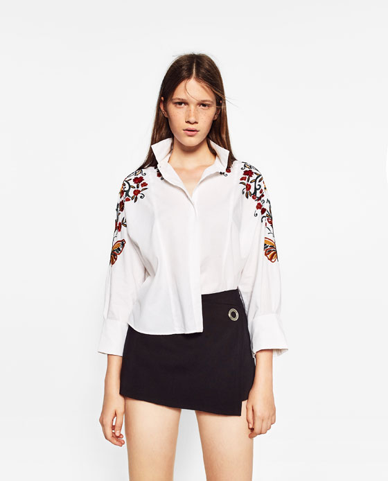 zara floral embroidered t shirt NY