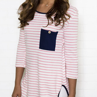 shirt top amazinglace pocket stripes frocket three-quarter sleeves