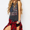 Gray letter print round neck casual tank top