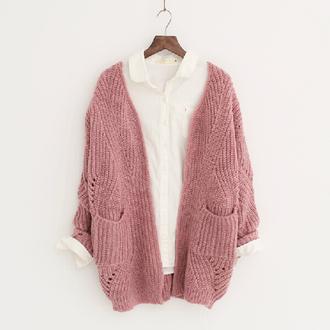 cardigan pink knitwear long sleeves retro knitting coat fashion trendy warm fall outfits stylish