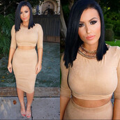 dress,amrezy,two-piece,nude,taupe,nude dress,midi skirt,two piece dress set,camel suede skirt