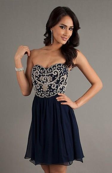 dress gold white dress homecoming dress navy blue, gold chains, zipup short dress
