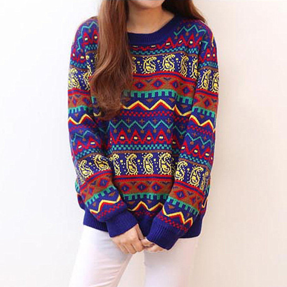 geometric sweater footprint colorful pattern pullover