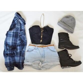 shirt lace crop bustier high-waisted jean shorts combat boots 2 cross gold necklace blue flannel button up shirt