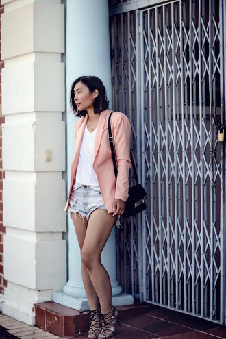 le fashion image blogger jacket shorts bag