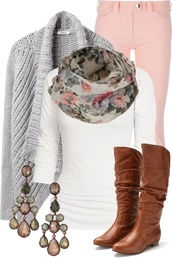 t-shirt,coral jeans,boots,scarf,gray cardigan,white t-shirt,jeans,shoes,sweater,pink jeans,woven sweater,floral scarf,brown leather boots,no heel,grey,open front,cardigan,comfy,fall outfits,pink pants,jeggings,skinny jeans,bag,grey and pink floral scarf,pants,cognac,riding,knee high,patent leather