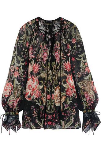 blouse lace black silk top